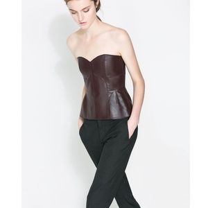 EUC Soft Leather Bustier Peplum Hem Top SZ S
